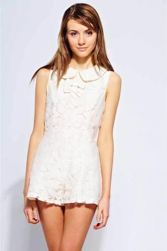 belle dress lace dress romper peterpan collar