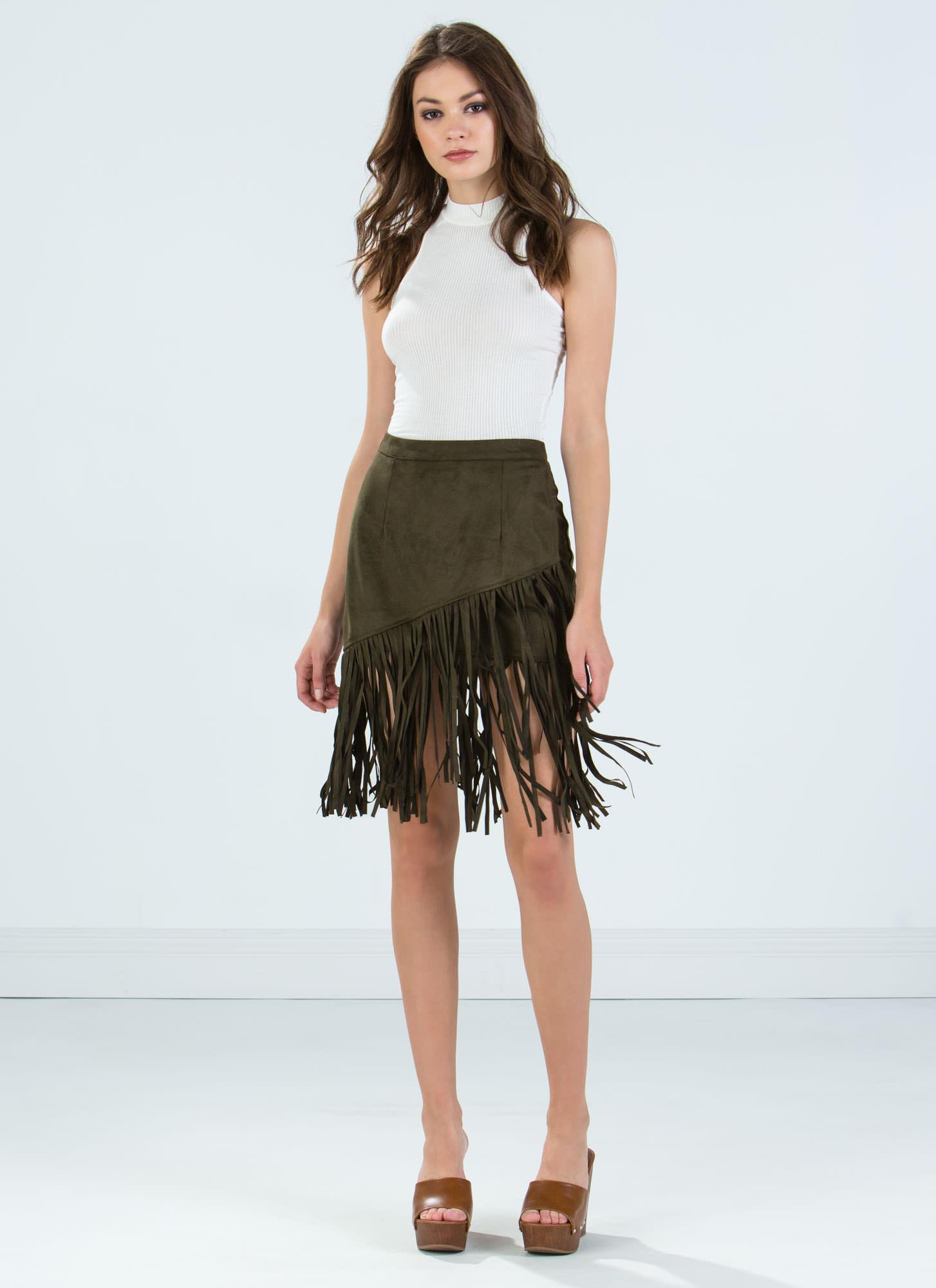 Star Faux Suede Fringe Skirt CAMEL OLIVE RED - GoJane.com