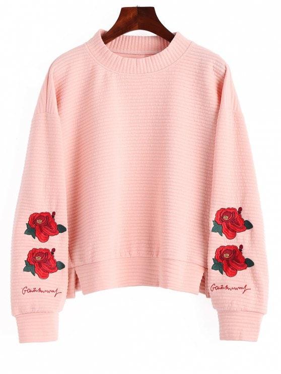 Slit Mock Neck Floral Embroidered Sweatshirt