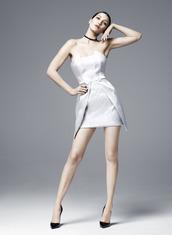 dress,mini dress,white,white dress,satin dress,bella hadid,model,strapless,editorial