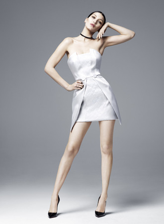 dress mini dress white white dress satin dress bella hadid model strapless editorial