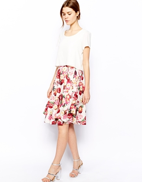 ASOS | ASOS Midi Skirt In Floral Rose Print at ASOS