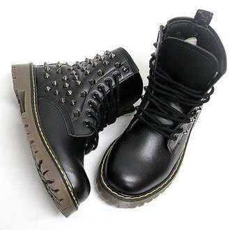 shoes black studded shoes black shoes punk rock female boots combat boots black combat boots spikes studs black studded boots