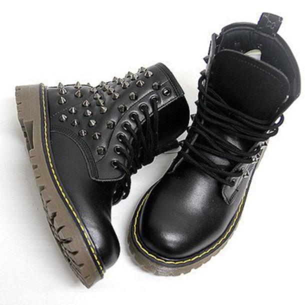 Shoes: black, studded shoes, black shoes, punk, rock, female ...