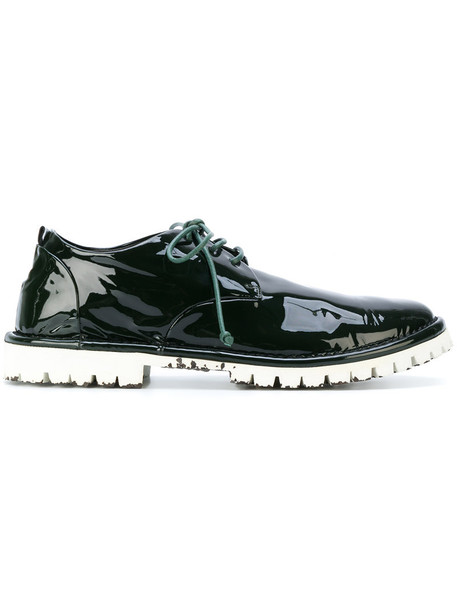 women shoes lace-up shoes lace leather green