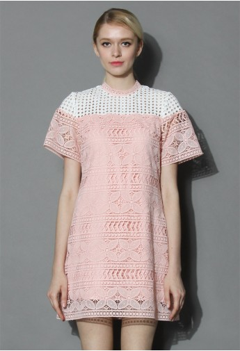 Crocheted Shift Dress in Pastel Pink