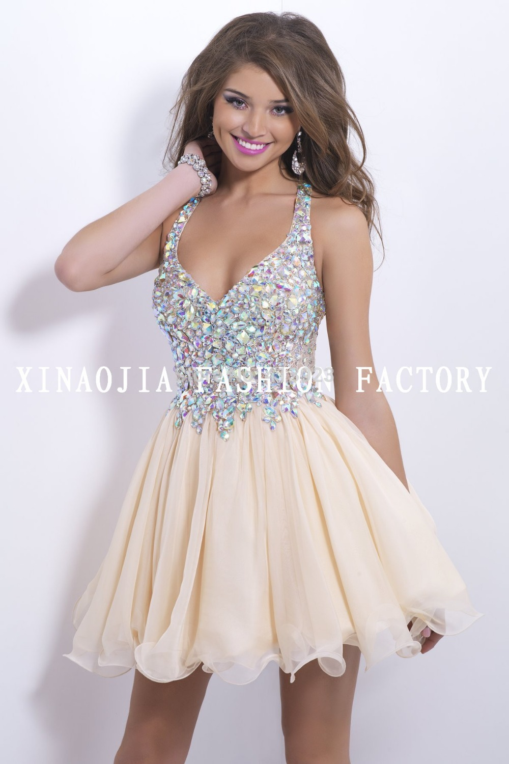 Aliexpress.com : Buy Free Shipping Real Photo 2014 100% True Crystal V Neck Brilliant Beaded Chiffon Dress To Party from Reliable dress glove suppliers on Chaozhou City Xin Aojia dress Factory