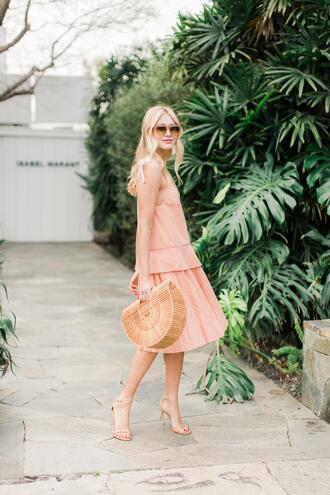 modern ensemble blogger dress shoes bag jewels pink dress cult gaia bag sandals high heel sandals