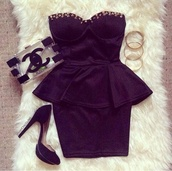 dress,little black dress,studs,peplum dress,bag,bodycon,studded black dress,clothes,tumblr clothes,chanel,hot,prom dress,sexy party dresses,sweetheart neck-line,outfit,white,chanel purse,jewelry,fancy jewelry,black high heels,high heels,purse,glitter,blonde hair,spiked,fancy,designer dress,peplum,black,peplumdress,tight,sheer,black dress,shoes,boots,heels,short party dresses,chanel bag,black peplum dress,mesh,www.ebonylace.net,ebonylacefashion,studded bustier,bodycon dress,gold