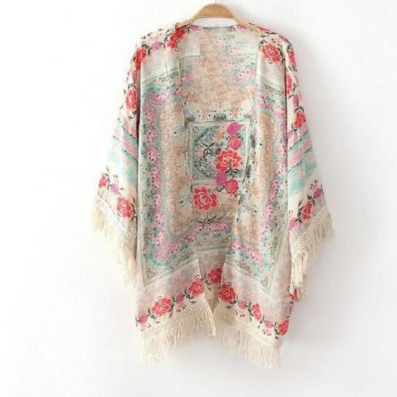 coat cardigan cream floral kimono vintage boho hippie gypsy cute fashion fashionable festival kimono