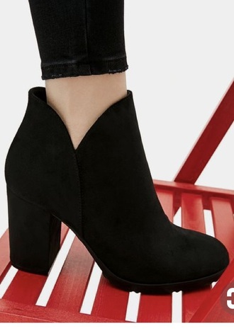 shoes black mid heel ankle boots