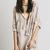 Beige Plunge Neck Tie Front Ruffle Trim Batwing Sleeve Blouse