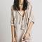 Beige plunge neck tie front ruffle trim batwing sleeve blouse