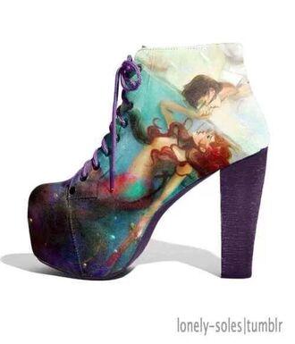 shoes disney high heels little mermaid bag coat earphones