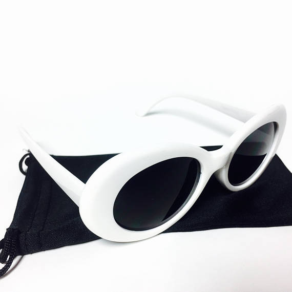 Oval Frame Tinted Dark Lens Retro 90s Kurt Cobain Sunglasses