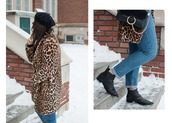 adventures in fashion,blogger,coat,jeans,bag,shoes,sunglasses,beret,animal print,animal print coat,ankle boots,leopard coat,leopard print,winter outfits