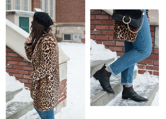 adventures in fashion blogger coat jeans bag shoes sunglasses beret animal print animal print coat ankle boots leopard coat leopard print winter outfits