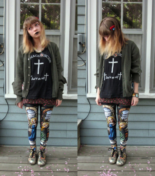 legging Black Milk black t-shirt stained glasses t-shirt