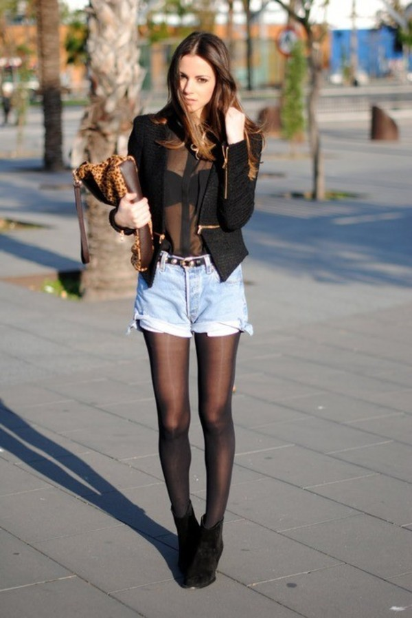 blouse girl black High waisted shorts fall outfits jacket t-shirt classy shoes