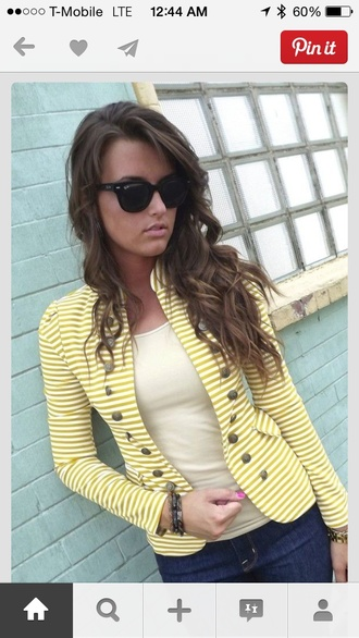 gold buttons jacket yellow/gold and cream stripes