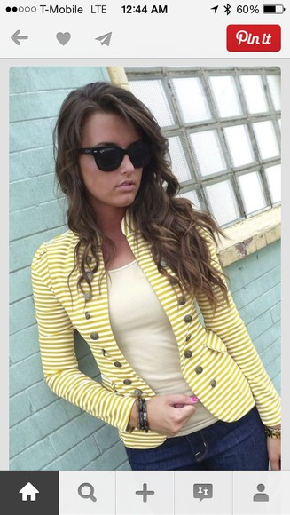 jacket gold buttons yellow/gold and cream stripes