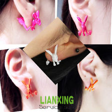 Fab 1Pair Neon False Plug 3D Rabbit Animal Earrings Ear Stud New Fashion | eBay
