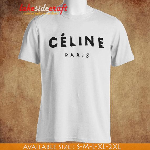 Celine paris white shirt tshirt cp01 by lakesidecraft on etsy