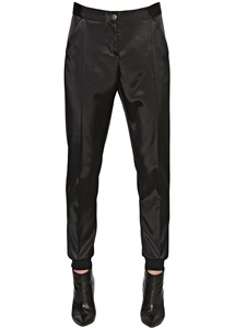 Double face techno satin trousers