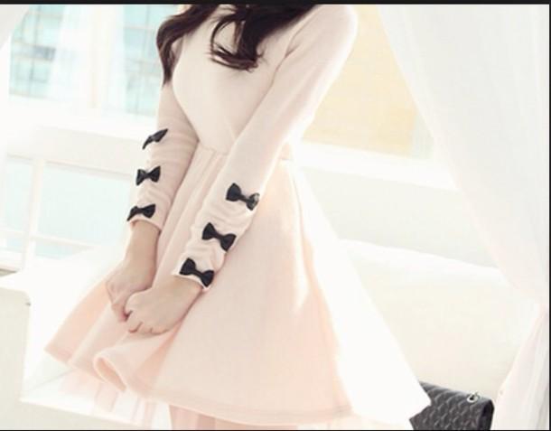 dress pastel pink cute dress bows jumpsuit bow cream white little bows long selves dress