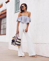 top,misa los angeles,blue and cream,crop tops,off the shoulder,off the shoulder top,summer outfits,vacation fashion,spring summer tops,blue and white,flowy,flowy top