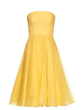 gown strapless silk yellow dress