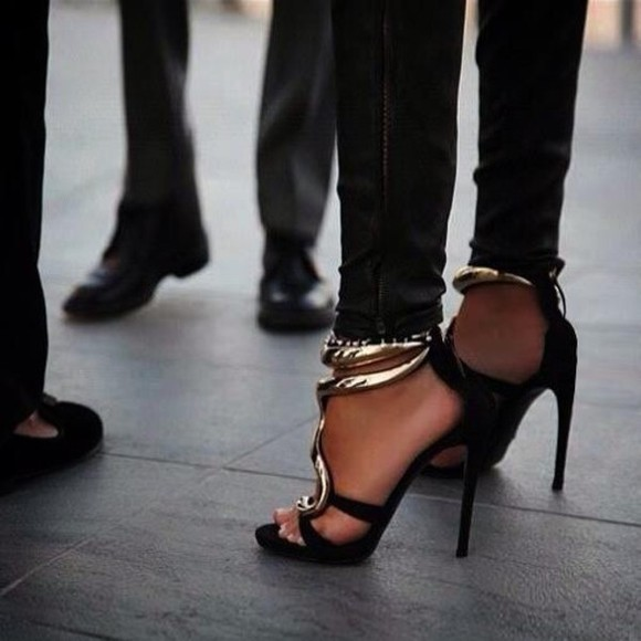 shoes black high heels strappy sandals gold style sexy shoes