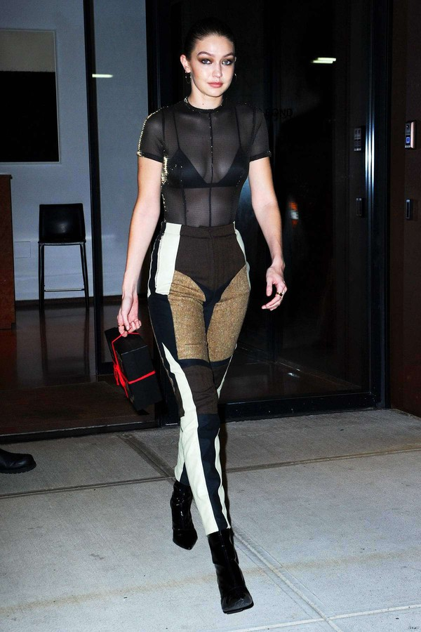underwear see through top bra bralette gigi hadid model off-duty pants