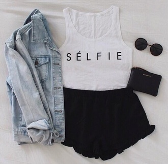 top jeans denim jacket shorts selfie hipster sunglasses jacket