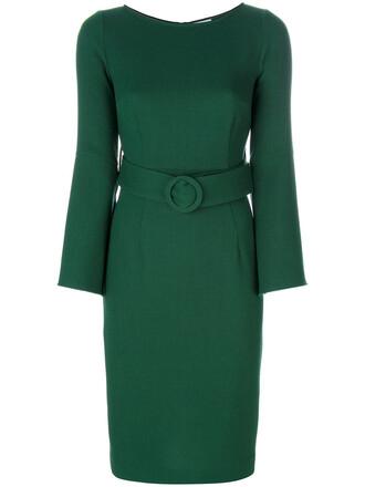 dress women spandex wool green