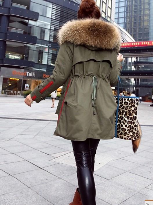 winter jacket women 2014 new women's winter coat women army green coat jacket Large raccoon fur collar hooded coat woman outwear-inDown & Parkas from Apparel & Accessories on Aliexpress.com