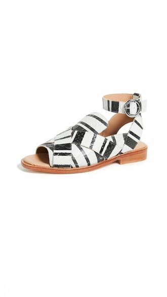 sandals white black shoes
