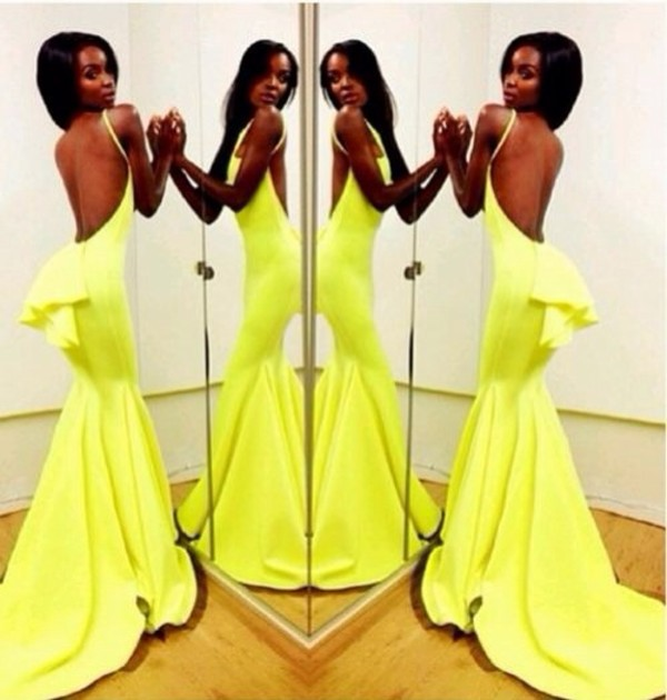 Aliexpress.com : Buy Mermaid Bodycon Sexy Evening Dress Long Backless Open Back Special Occasion Party Wear Neon Green Celebrity Dresses from Reliable evening dresses party suppliers on No.1 SuZhou Wonderful Evening& wedding dress store