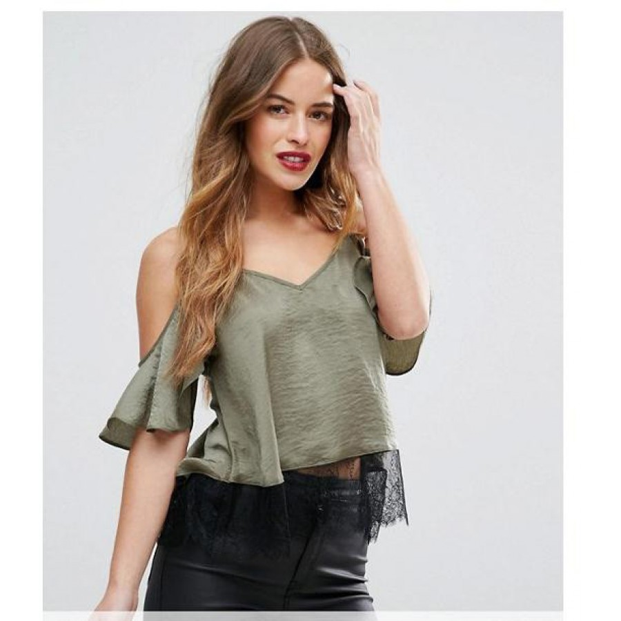 Green Crepe Lace Trim Bardot Cami