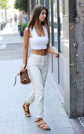 sandals,crop tops,emily ratajkowski,model off-duty,summer outfits,pants,purse,white top,white jeans,ripped jeans,high waisted jeans,jeans,straight jeans