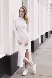 at fashion forte,blogger,dress,white dress,knitted dress,slit dress,white sneakers,all white everything,midi knit dress,sneakers,low top sneakers,white knit dress