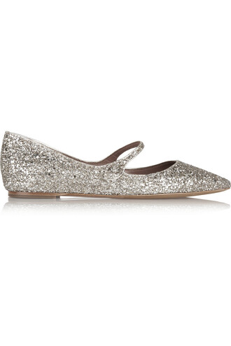 flats leather metallic gold shoes