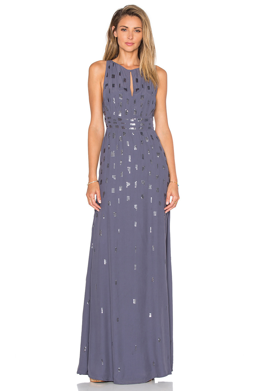 Hoss intropia foil detail maxi dress in gray wheretoget for Summer maxi dresses weddings