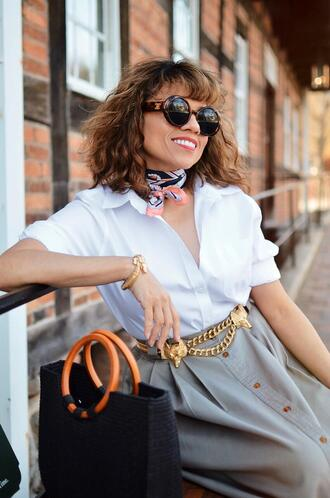mysmallwardrobe blogger shirt scarf skirt belt bag shoes sunglasses jewels white shirt handbag spring outfits
