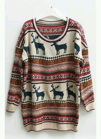 nordic deer christmas sweater fair isle oversized hipster