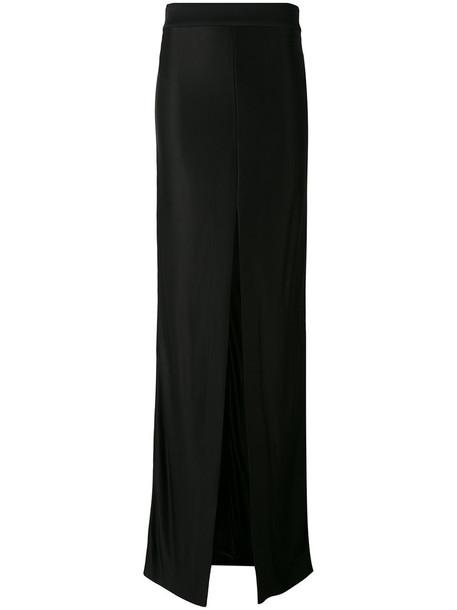 MUGLER skirt long women slit spandex black