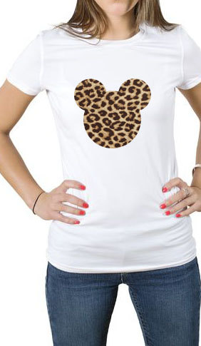 Mickey Mouse Head Leopard Print T Shirt Tee by WallArtDesire