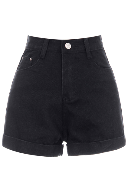 ROMWE | ROMWE Rolled Cuffs High Waist Black Denim Shorts, The Latest Street Fashion