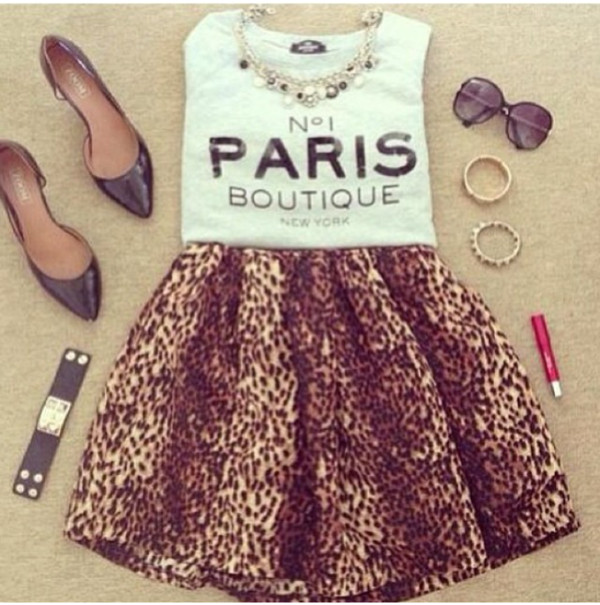 shirt sunglasses skirt jewels cute paris heels leopard timberlands