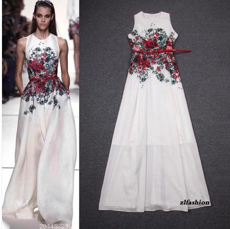 The Newest Spring Summer 2014 Big Runway Looks Maxi Floral Print Long Dress A-Line Sleeveless women Dresses White Plug Size XXL | Amazing Shoes UK
